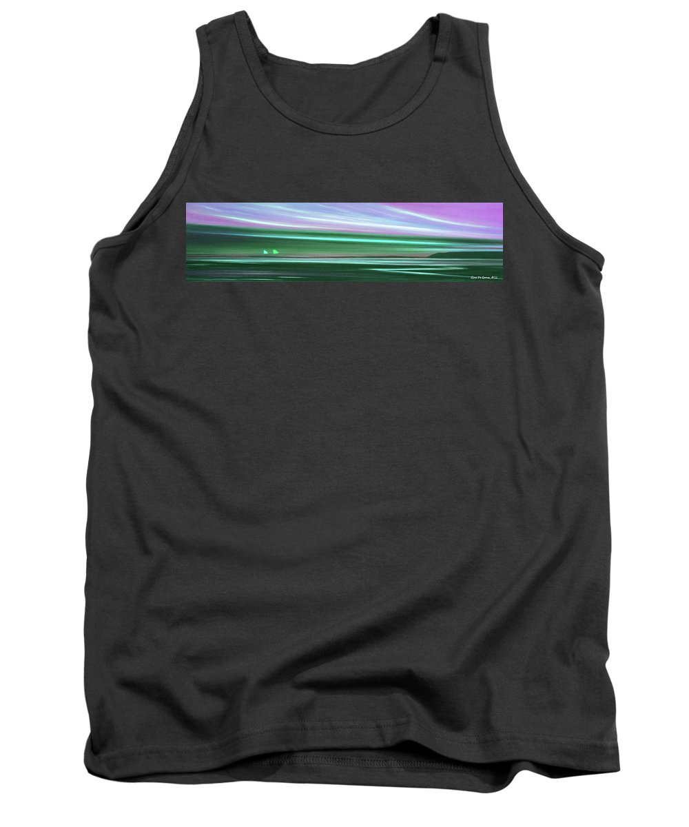 Sunset Tank Top featuring the painting Peace Is Colorful 3 - Panoramic by Gina De Gorna