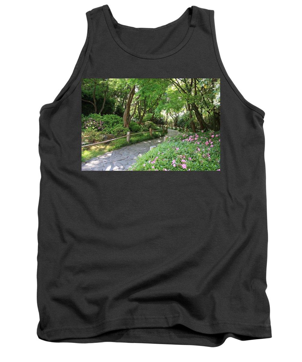 Garden Path Tank Top featuring the photograph Peaceful Garden Path by Carol Groenen