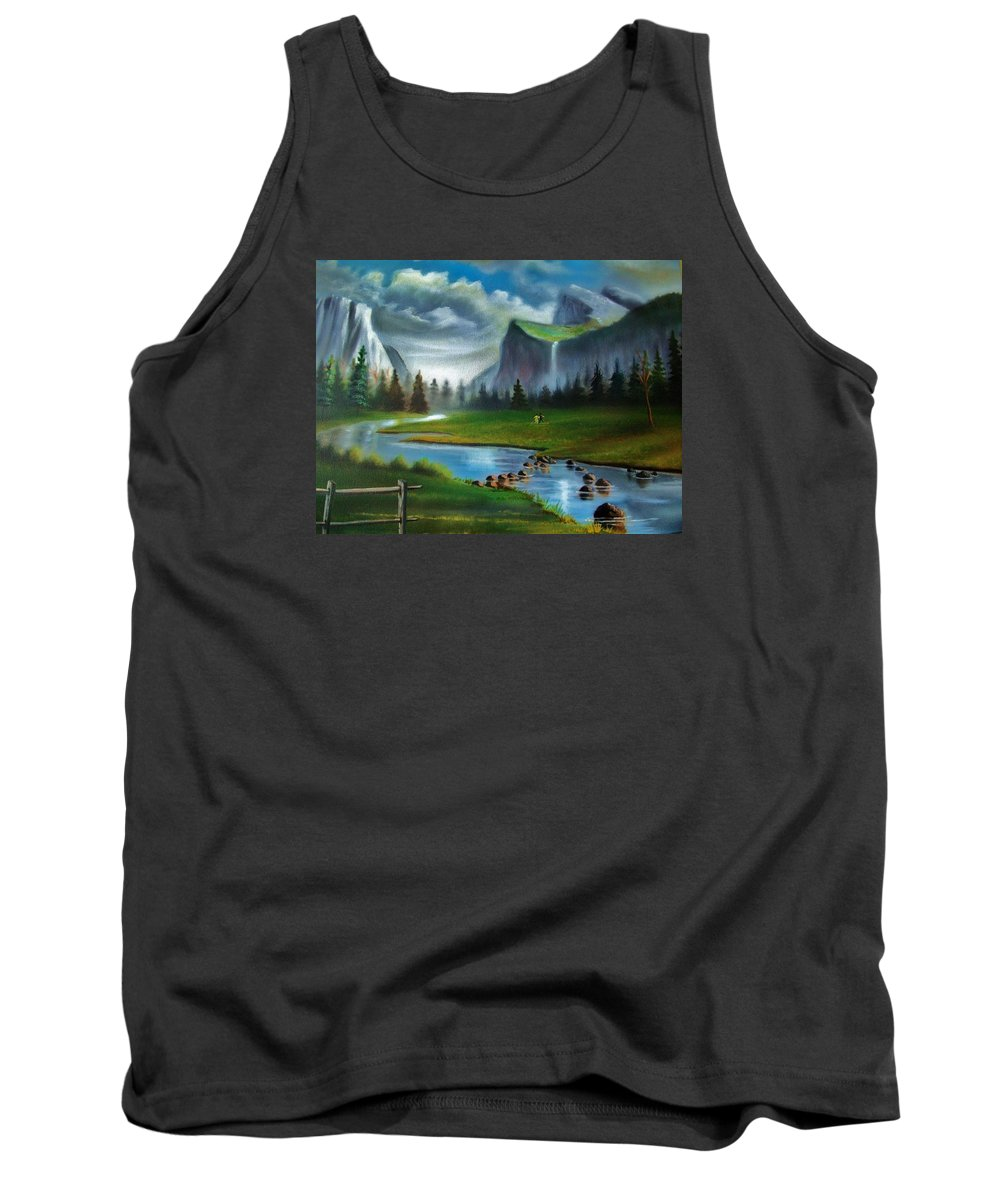 Landscape Tank Top featuring the painting Peaceful Retreat by Scott Easom