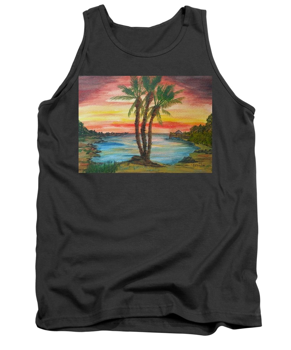Peaceful Sunset Tank Top featuring the painting Peaceful Sunset by Carlene Harris