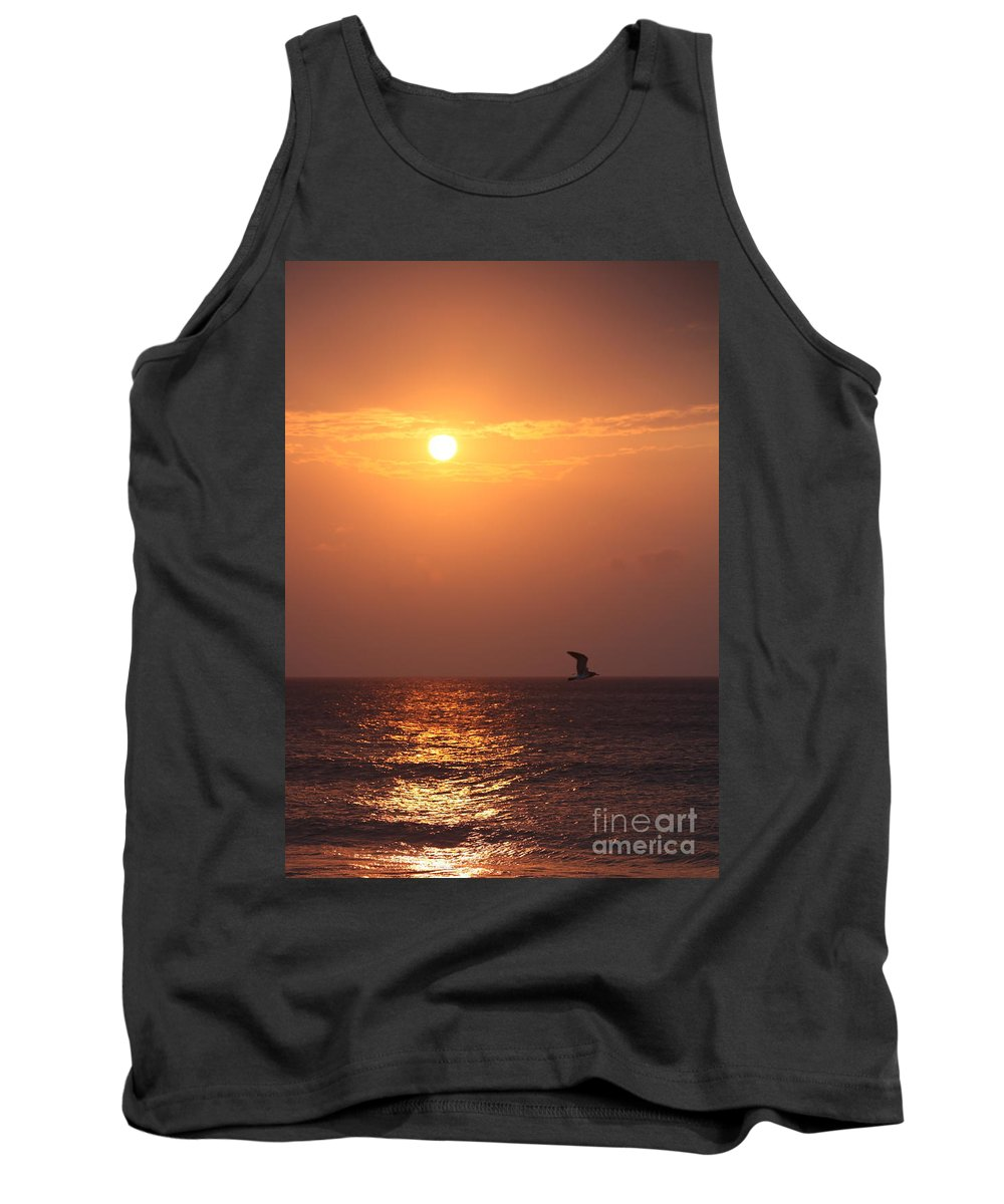 Birds Tank Top featuring the photograph Peach Sunrise And Bird In Flight by Nadine Rippelmeyer