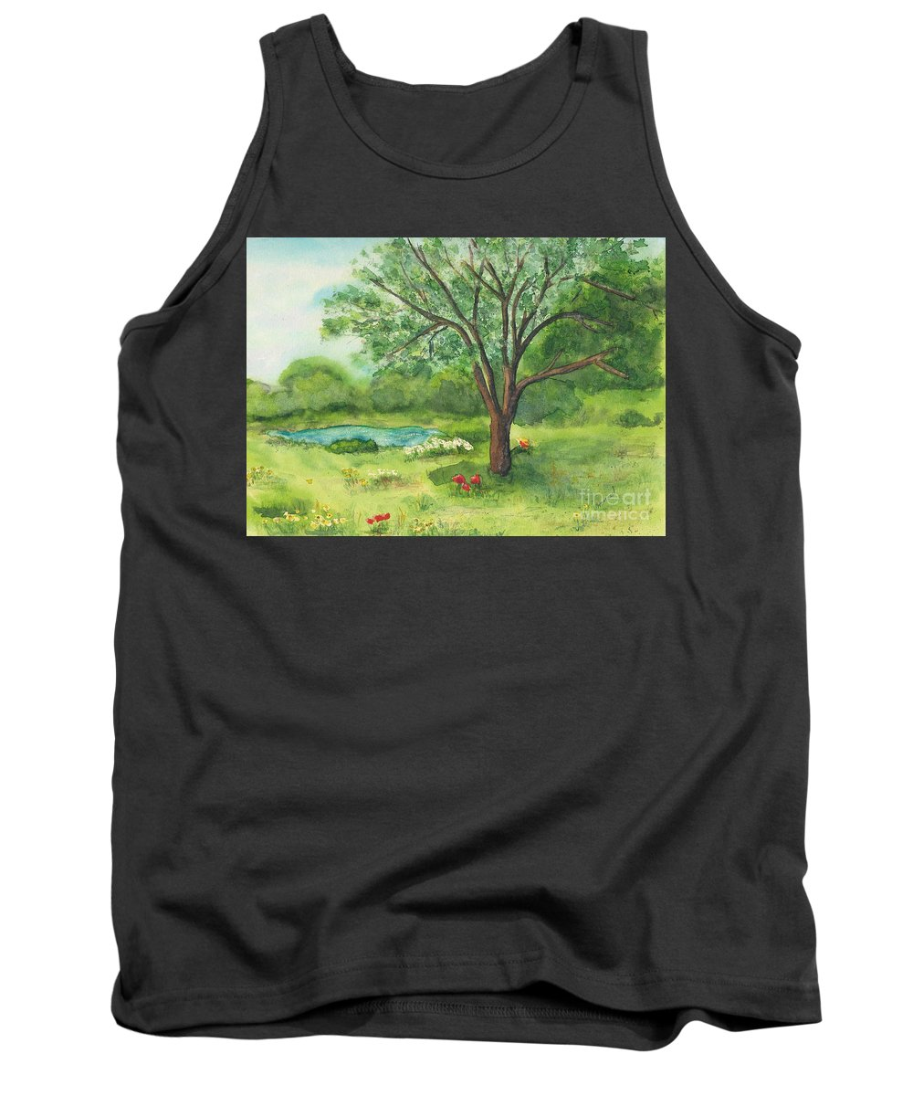 Landscape Tank Top featuring the painting Pedro's Tree by Vicki Housel