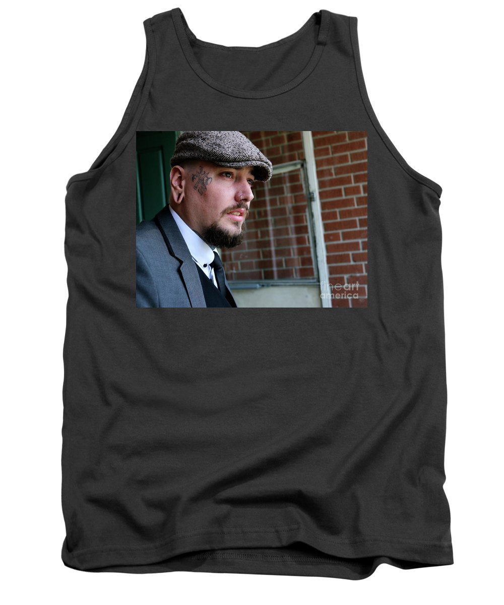 Male Portrait. Tank Top featuring the photograph Peeky Blinder by Anthony Amor