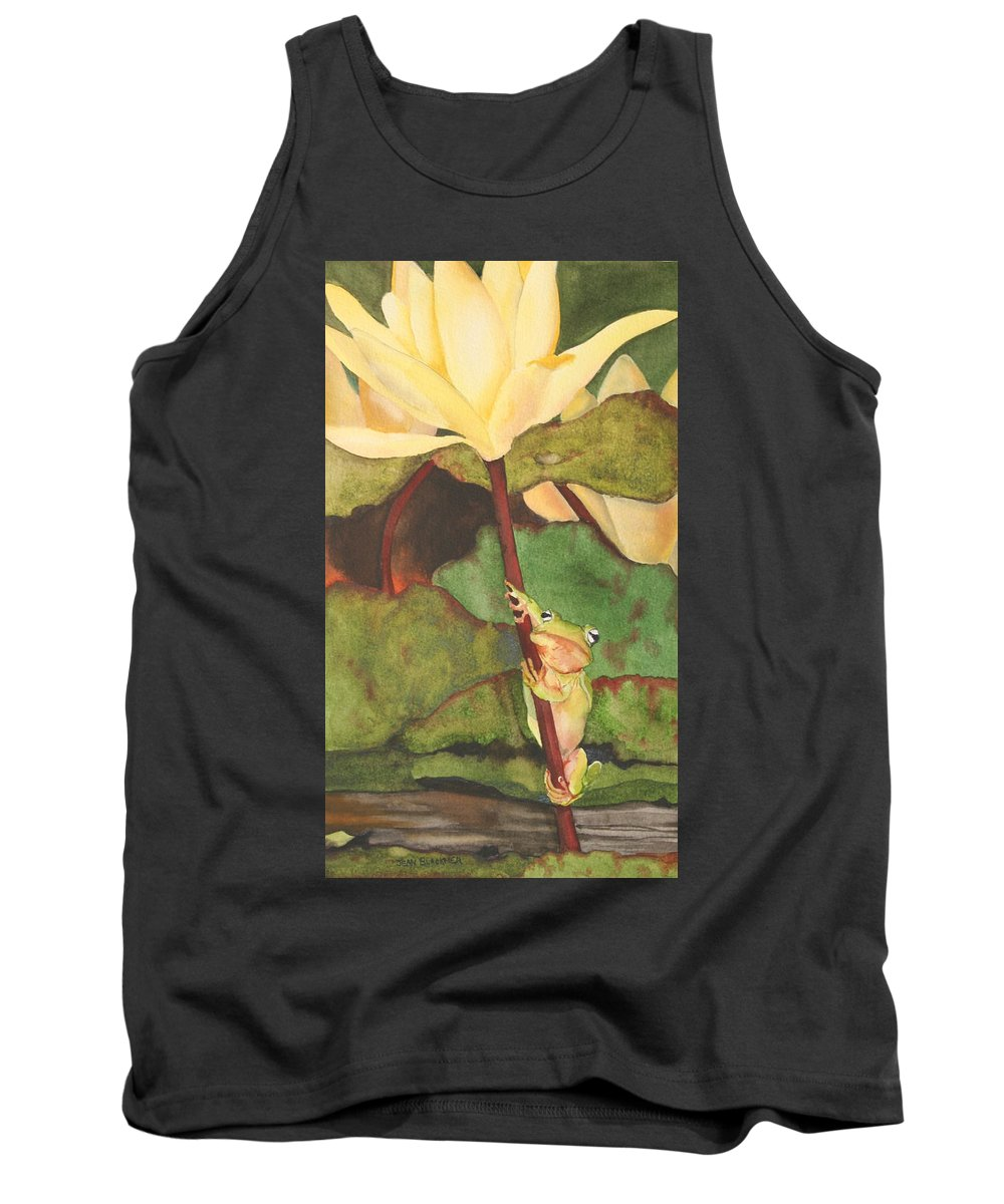 Frog Tank Top featuring the painting Peeping Tom by Jean Blackmer