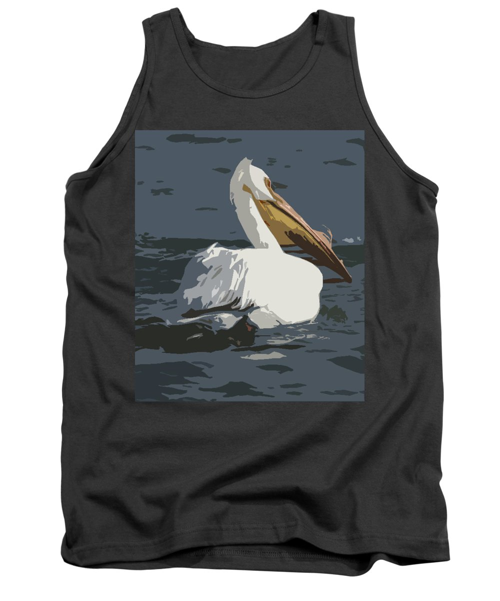 Pelican Tank Top featuring the photograph Pelican Cut Out by Heather Coen
