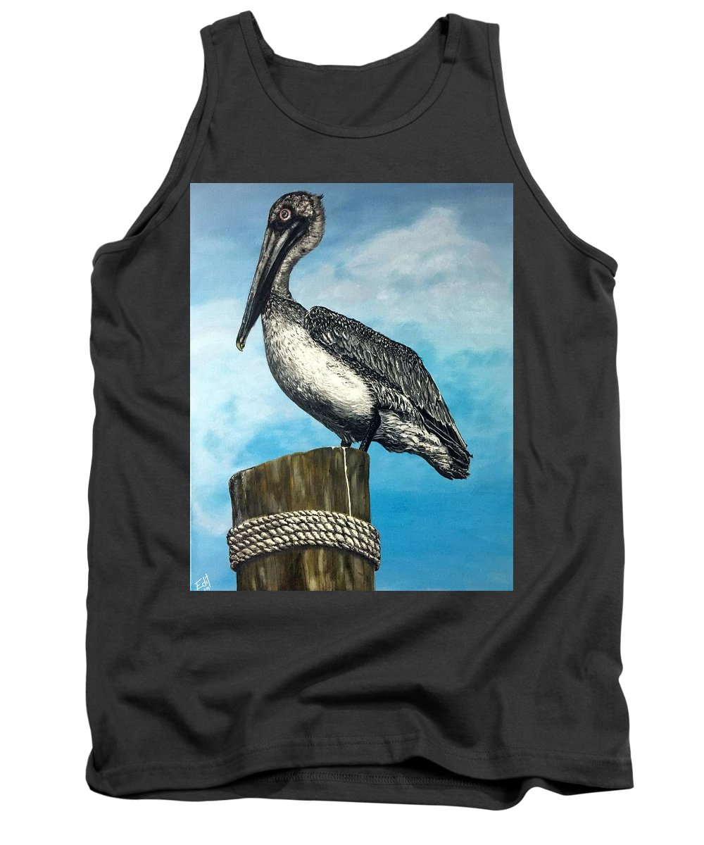 Pelican Tank Top featuring the painting Pelican by Edit Sullivan