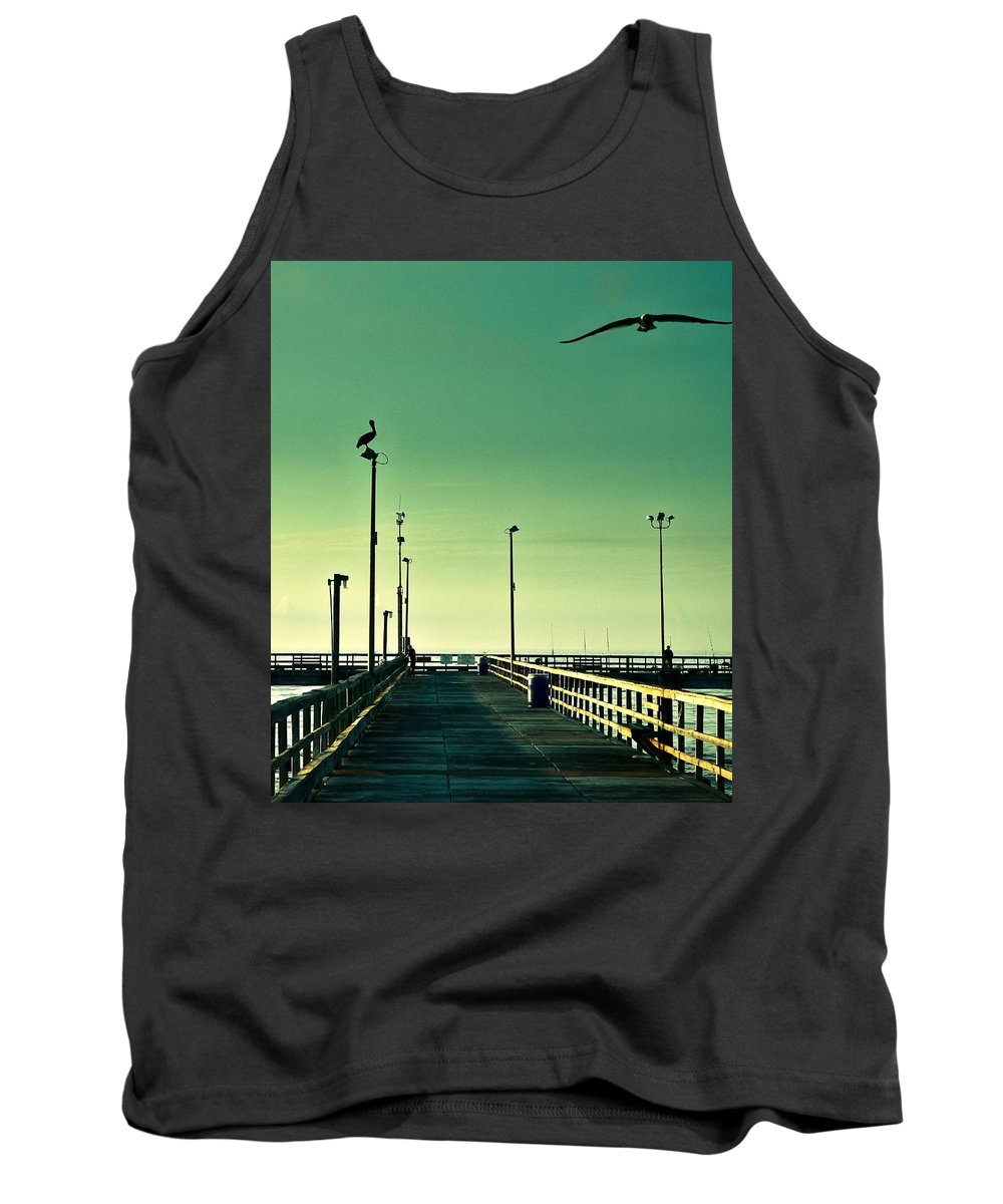 Americana Tank Top featuring the photograph Pelican On Watch Duty by Marilyn Hunt