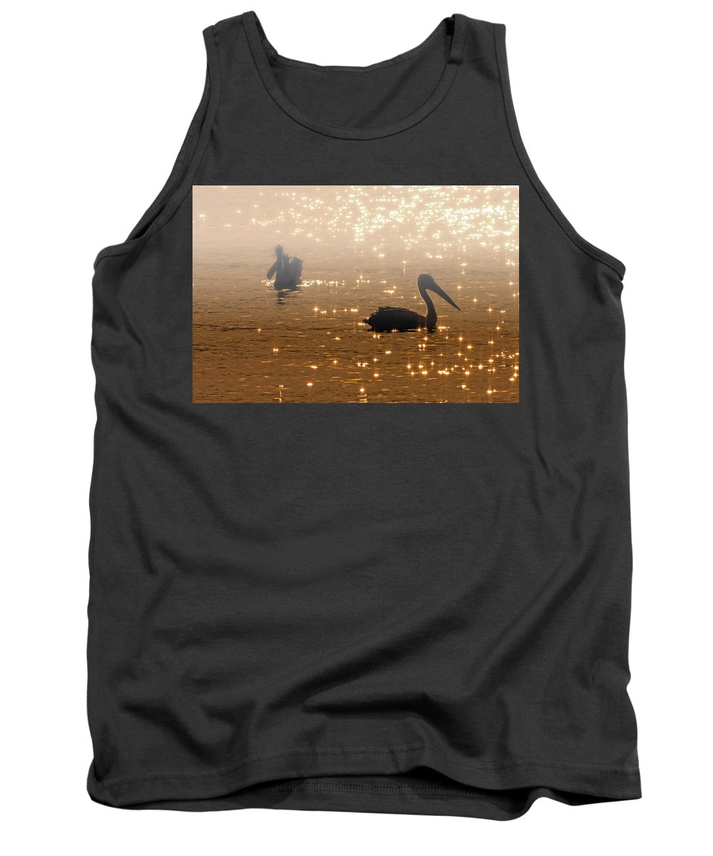 Pelican Tank Top featuring the photograph Pelican Sunrise by Mike Dawson