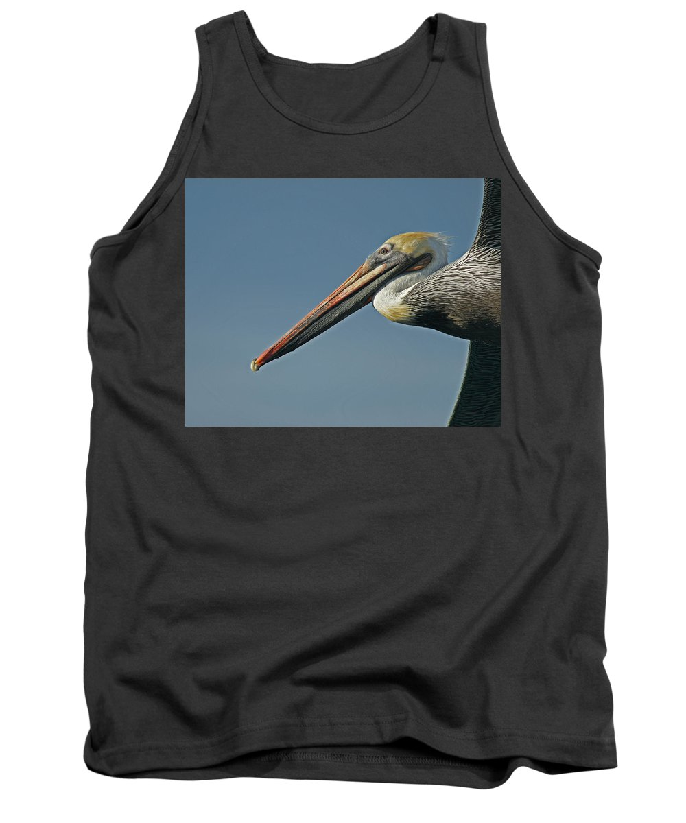 Animals Tank Top featuring the photograph Pelican Upclose by Ernie Echols