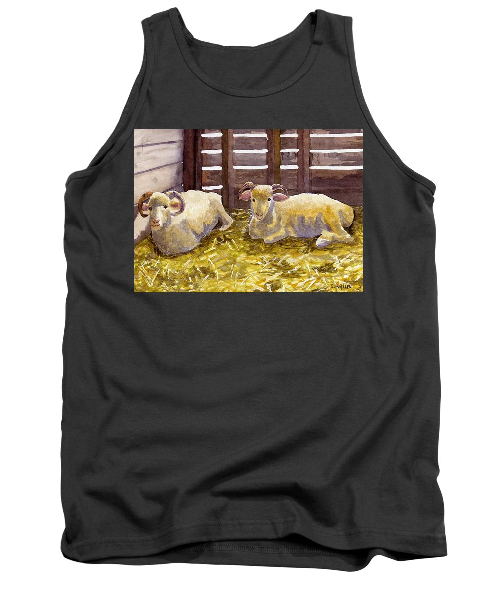 Sheep Tank Top featuring the painting Pen Pals by Sharon E Allen