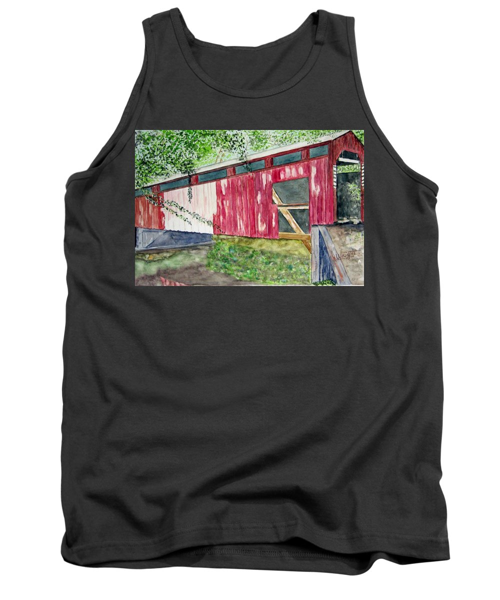 Pennsylvania Art Tank Top featuring the painting Pennsylvania Bridge To Nowhere by Larry Wright