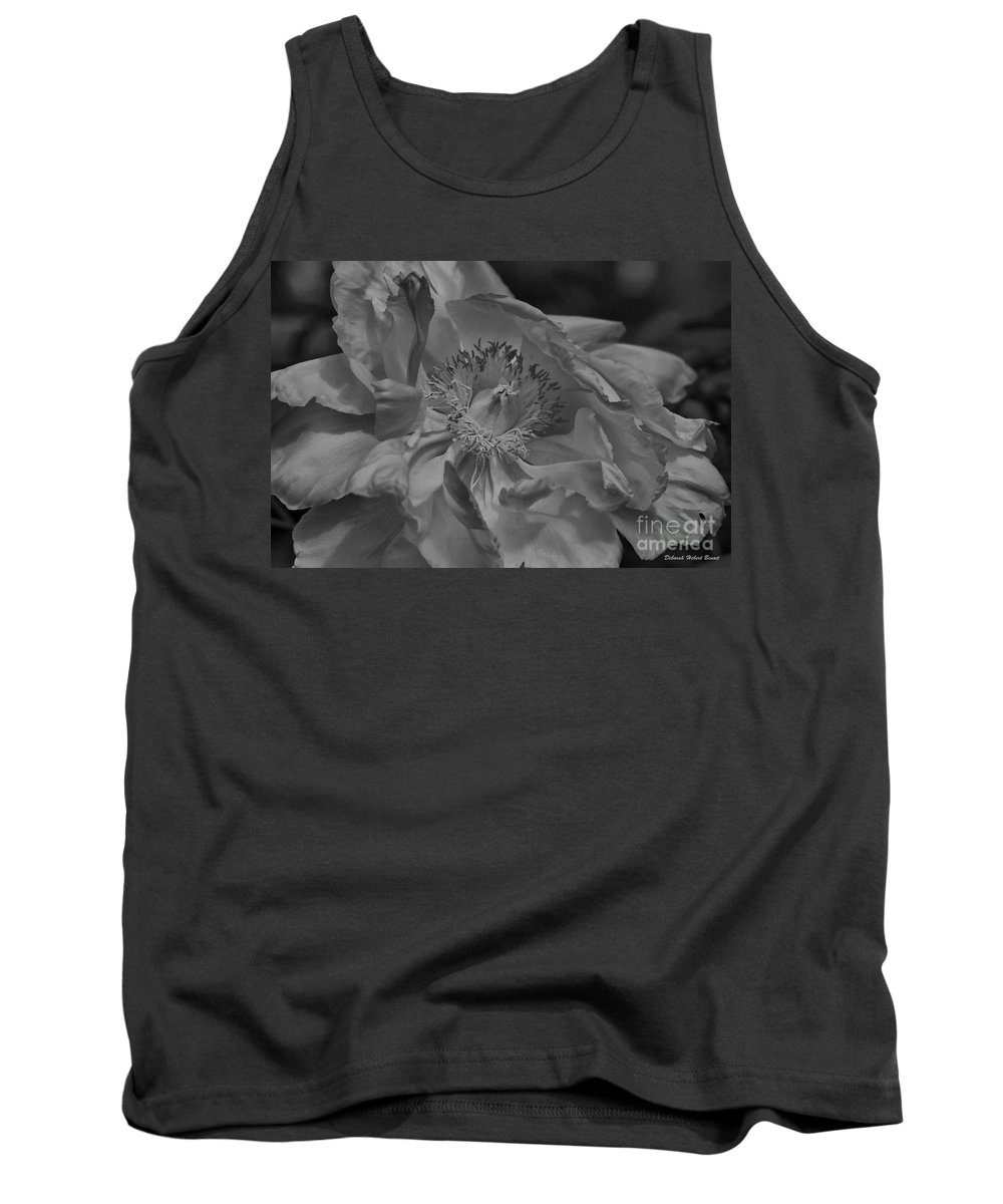 Peonie Tank Top featuring the photograph Peonie In Bw by Deborah Benoit