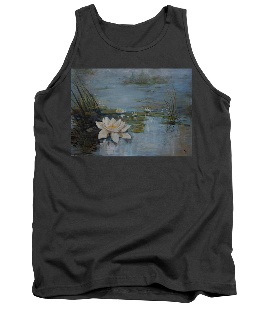 Water Lily Tank Top featuring the painting Perfect Lotus - Lmj by Ruth Kamenev