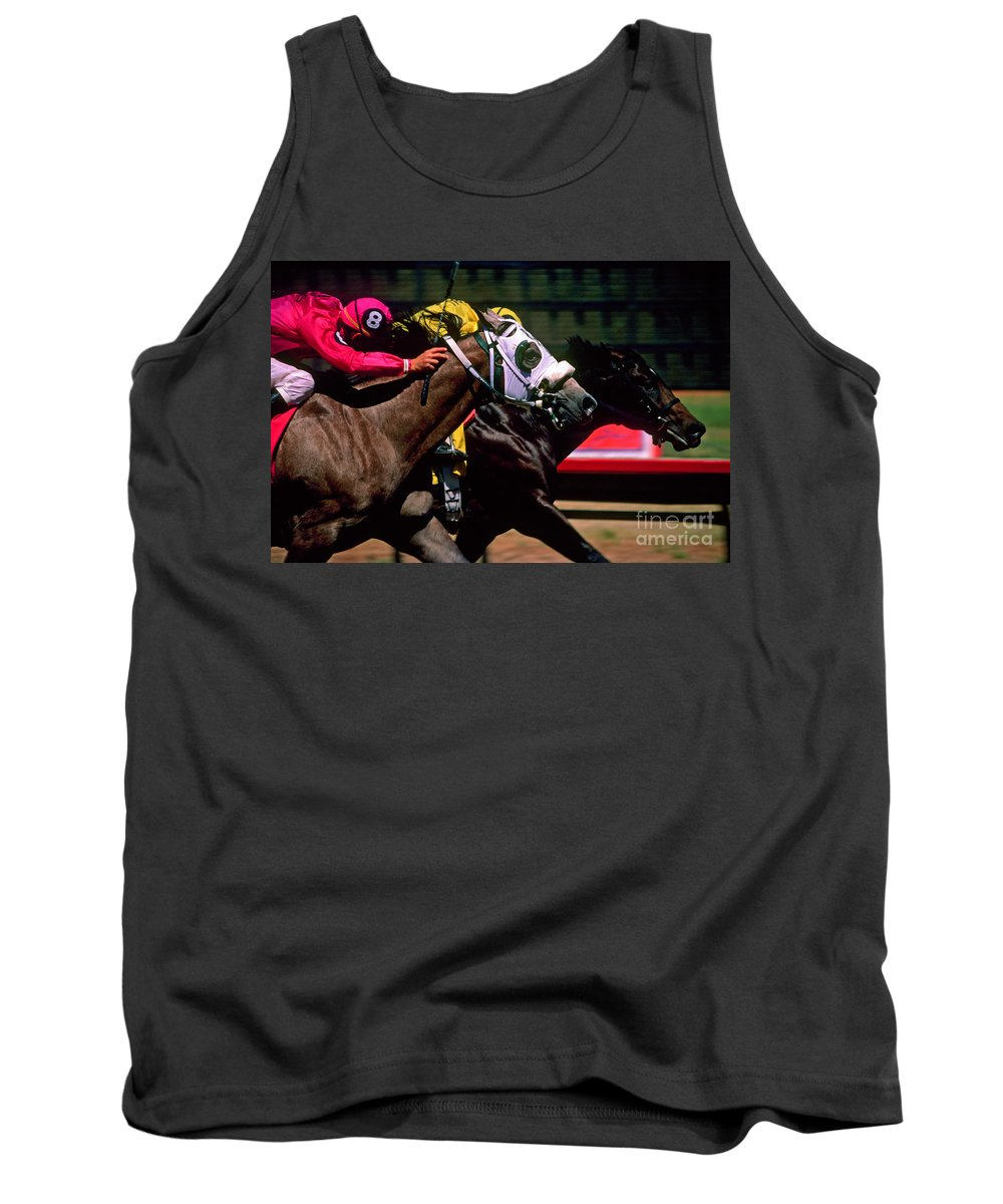 Horse Tank Top featuring the photograph Photo Finish by Kathy McClure