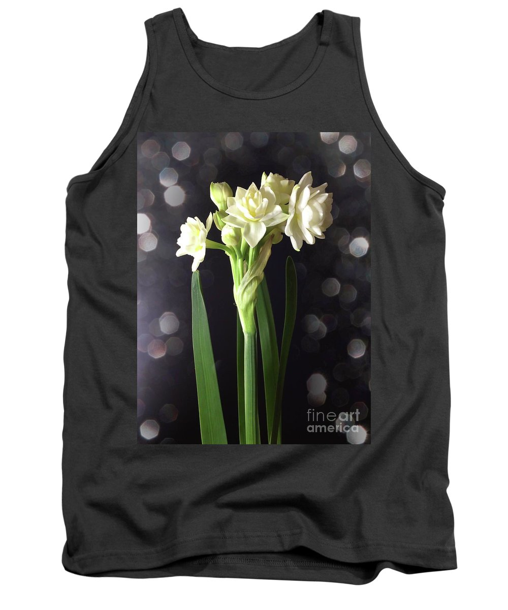 Digital Art Tank Top featuring the photograph Photograph Of Narcissus Erlicheer A White Flower by Delynn Addams