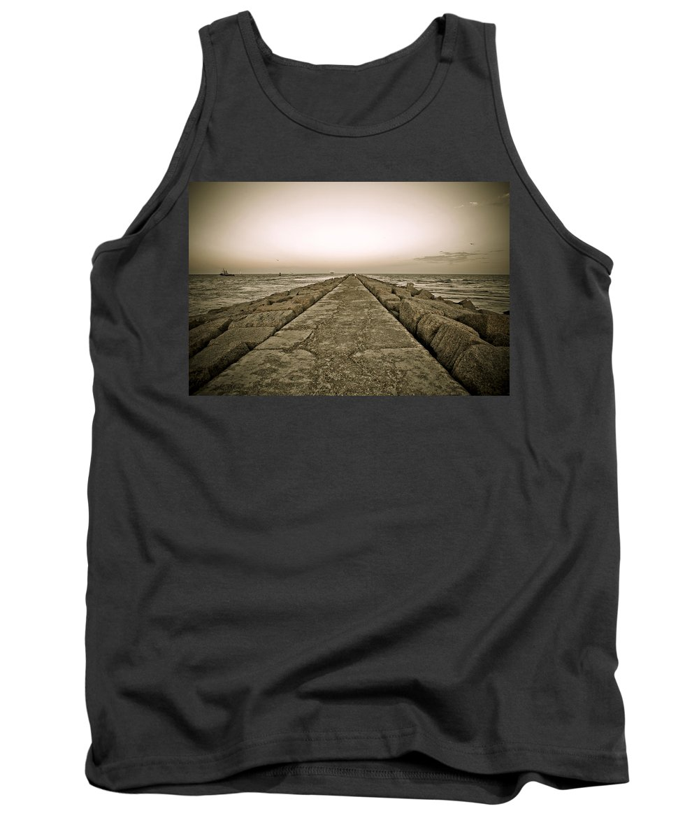 Water Tank Top featuring the photograph Pier At Sunset by Marilyn Hunt