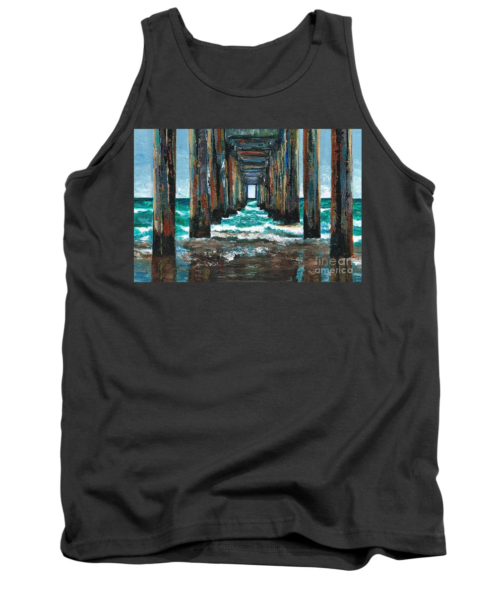 Ocean Tank Top featuring the painting Pier One by Frances Marino