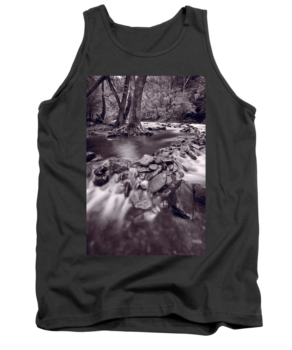 Great Tank Top featuring the photograph Pigeon Forge River Great Smoky Mountains Bw by Steve Gadomski