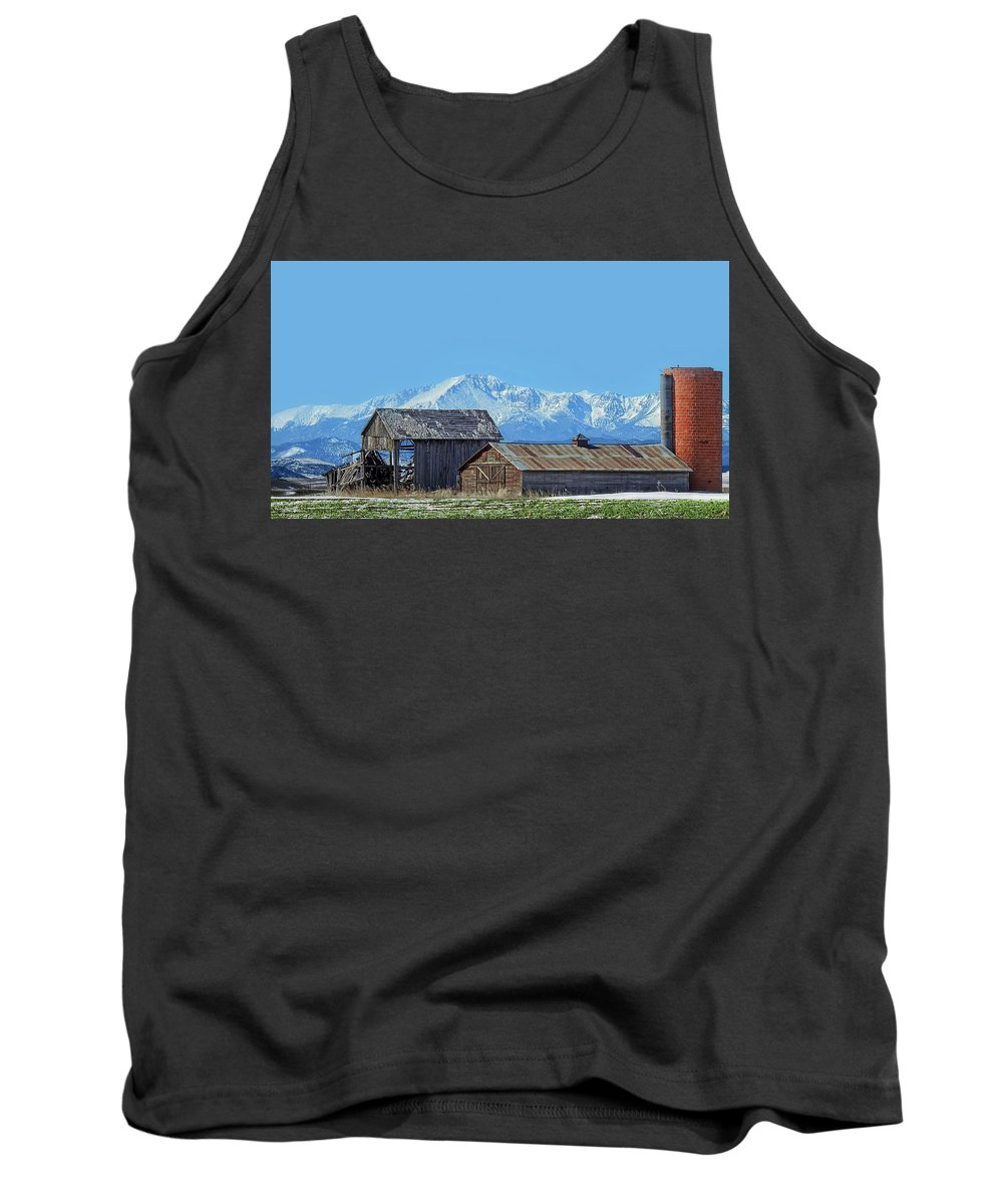 Barn Tank Top featuring the photograph Pikes Peak And Old Barn Spring Snow by Dawn Key