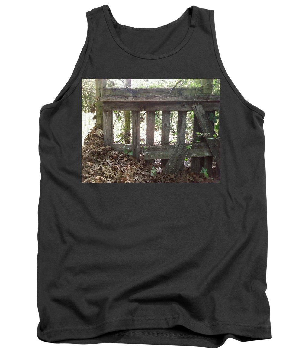 Leaves Fence Barn Wood Tank Top featuring the photograph Piles Of A Season Past.. by Cindy New