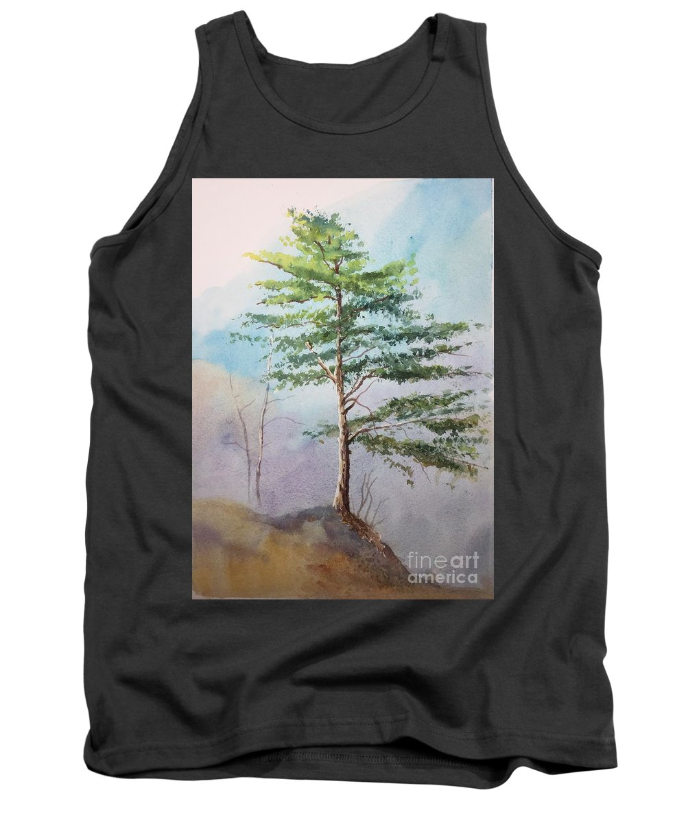 Pine Tree In Watercolor Tank Top featuring the painting Pine Tree by Yohana Knobloch