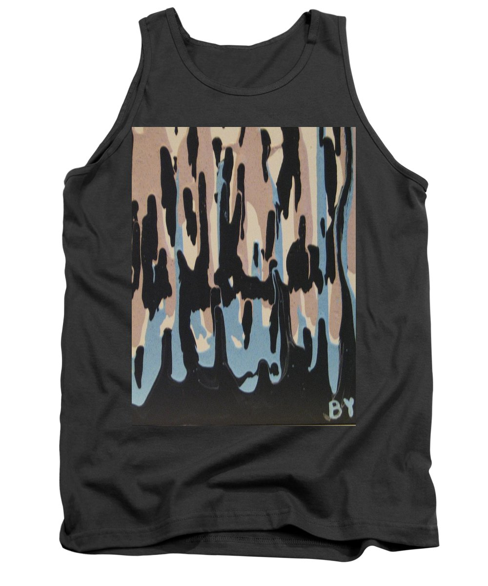 Drip Tank Top featuring the painting Pink Blue And Brown Drips by Barbara Yearty