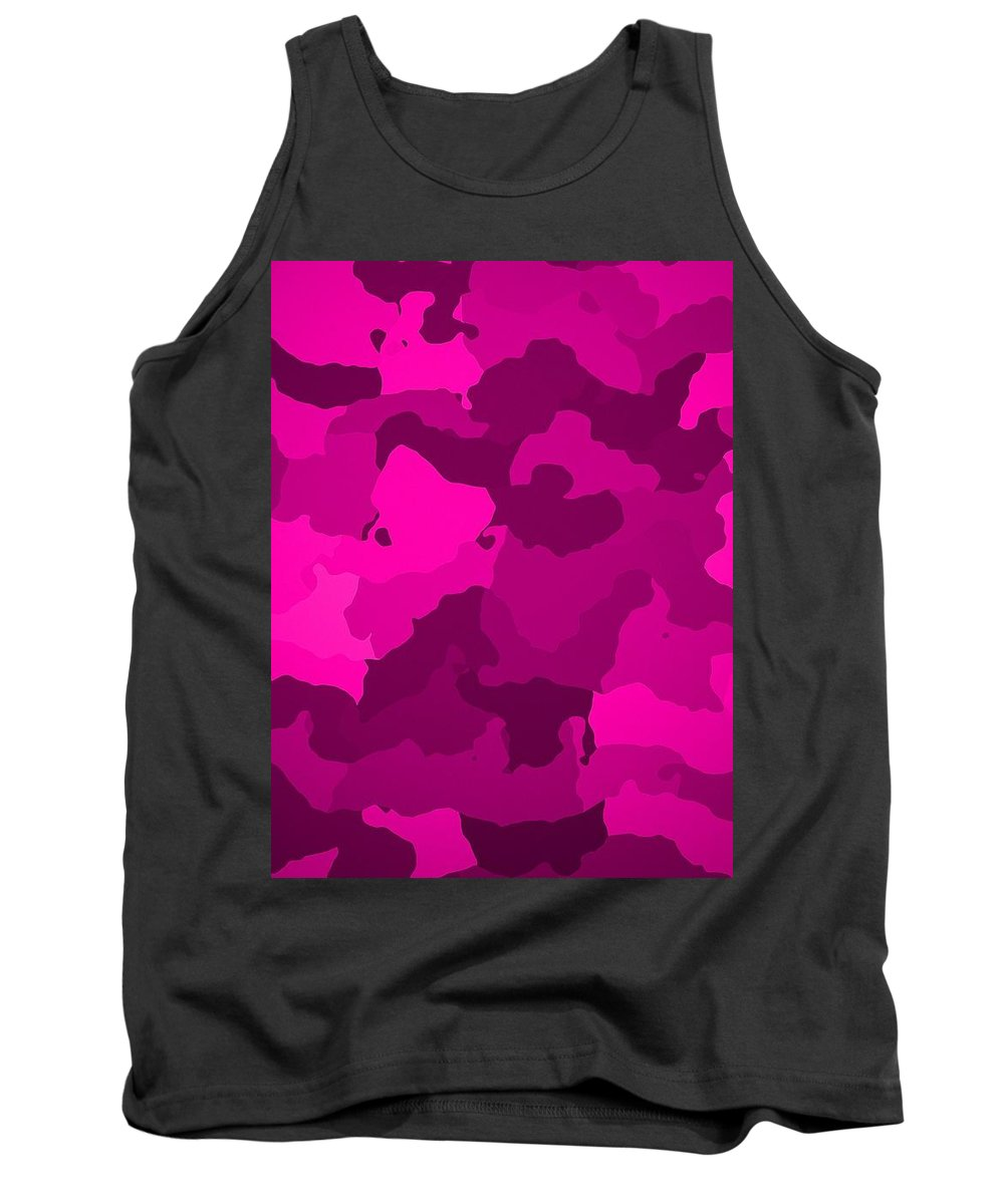 Pink Tank Top featuring the digital art Pink Camo by Immaculate World