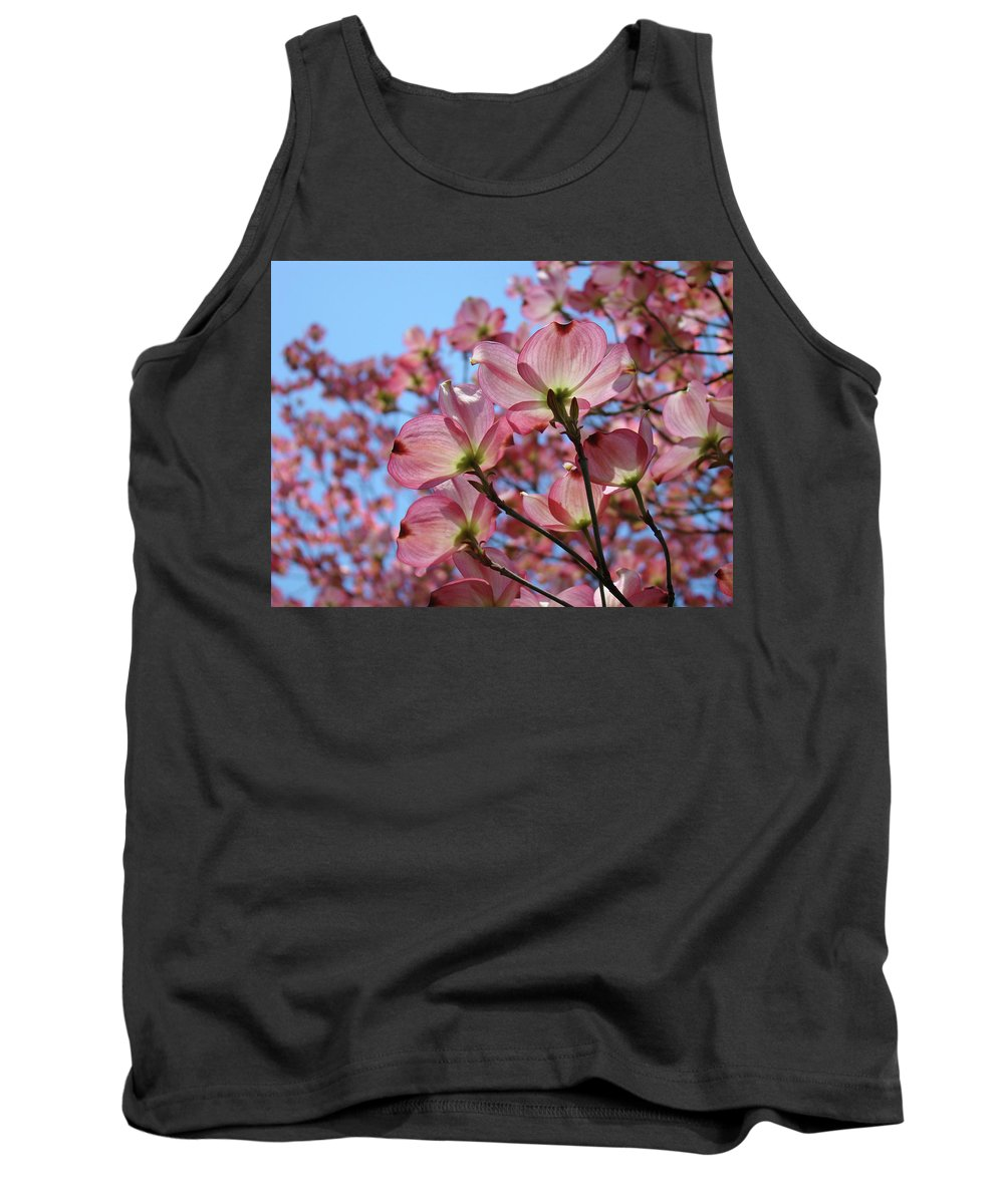 Dogwood Tank Top featuring the photograph Pink Dogwood Flowers Landscape 11 Blue Sky Botanical Artwork Baslee Troutman by Baslee Troutman