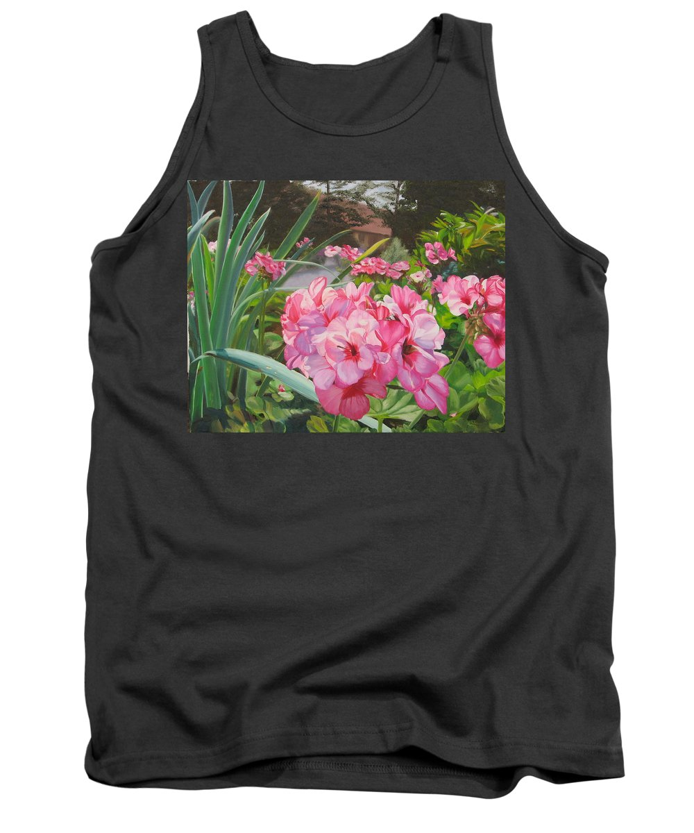 Pink Geraniums Tank Top featuring the painting Pink Geraniums by Lea Novak