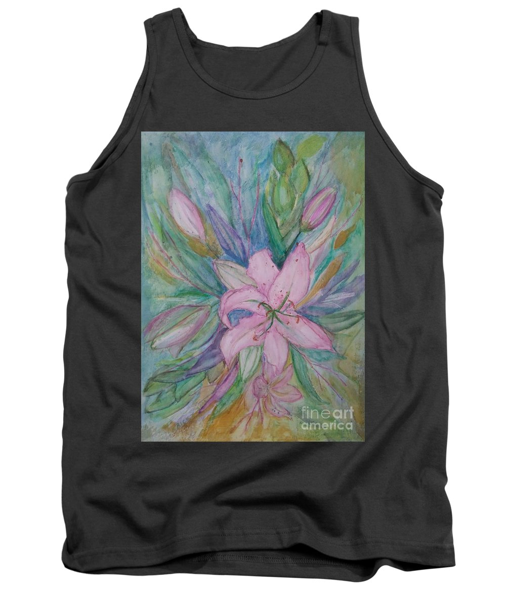 Flowers Tank Top featuring the painting Pink Lily- Painting by Veronica Rickard