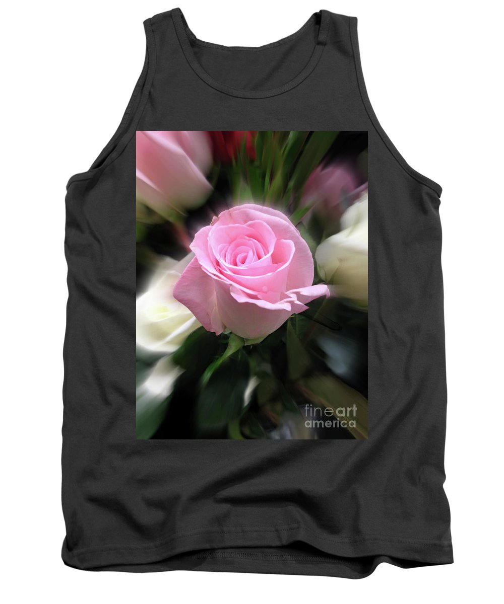 Flowers Tank Top featuring the photograph Pink Rose by Ellen Stanton