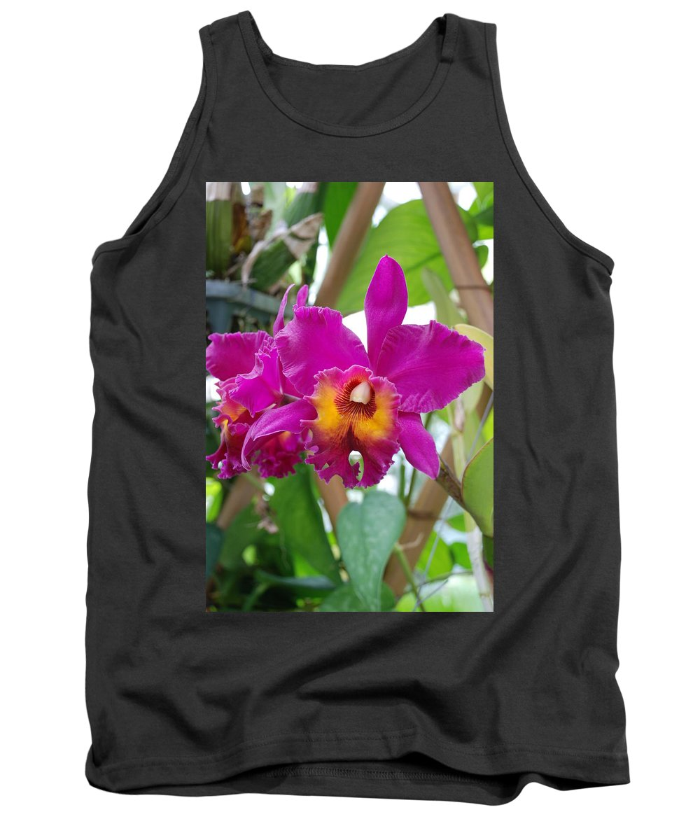 Macro Tank Top featuring the photograph Pinkishyellow Orchid by Rob Hans