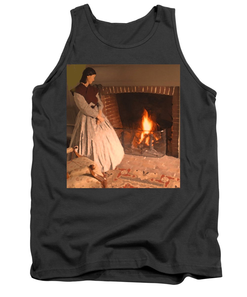 Tank Top featuring the digital art Pioneer Fire Impressions by Ian MacDonald