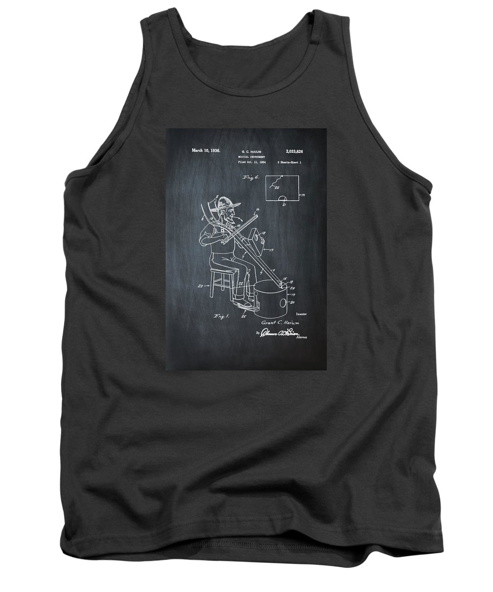 Pitch Tank Top featuring the photograph Pitch Fork Fiddle And Drum Patent 1936 - Chalk by Bill Cannon