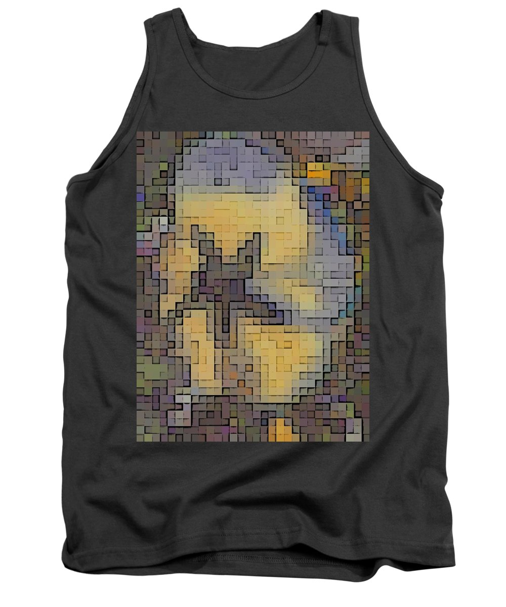 Abstract Tank Top featuring the digital art Pixel Pansy by Tim Allen