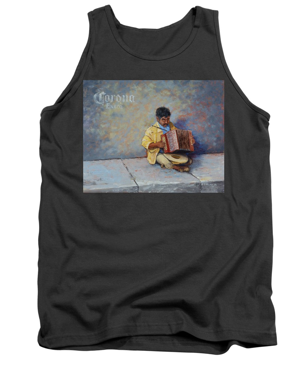 Mexico Tank Top featuring the painting Playing For Pesos by Jerry McElroy