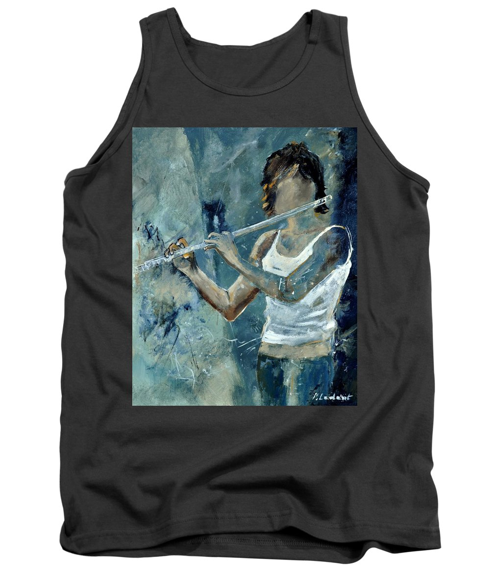 Music Tank Top featuring the painting Playing The Flute by Pol Ledent