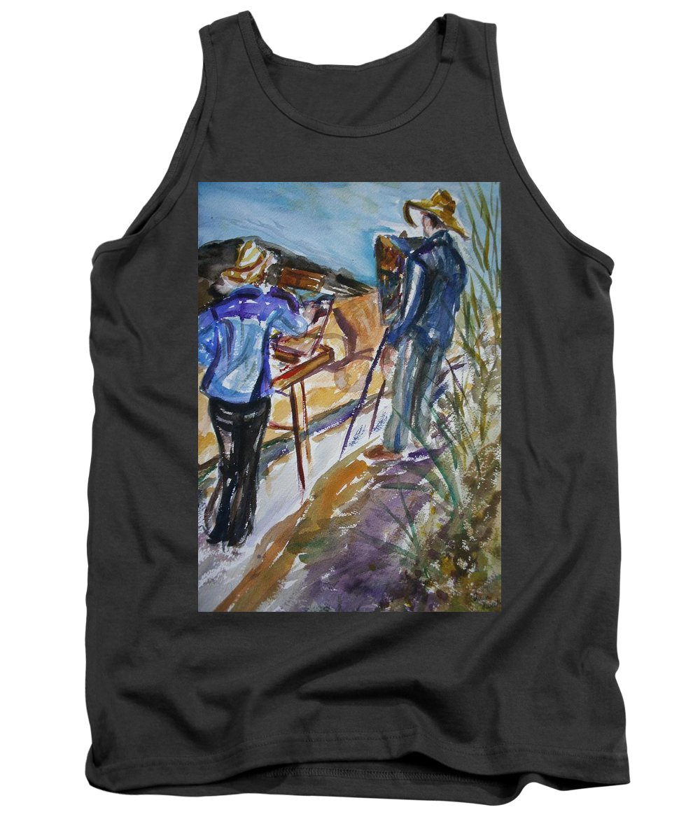 Impressionist Tank Top featuring the painting Plein Air Painters - Original Watercolor by Quin Sweetman