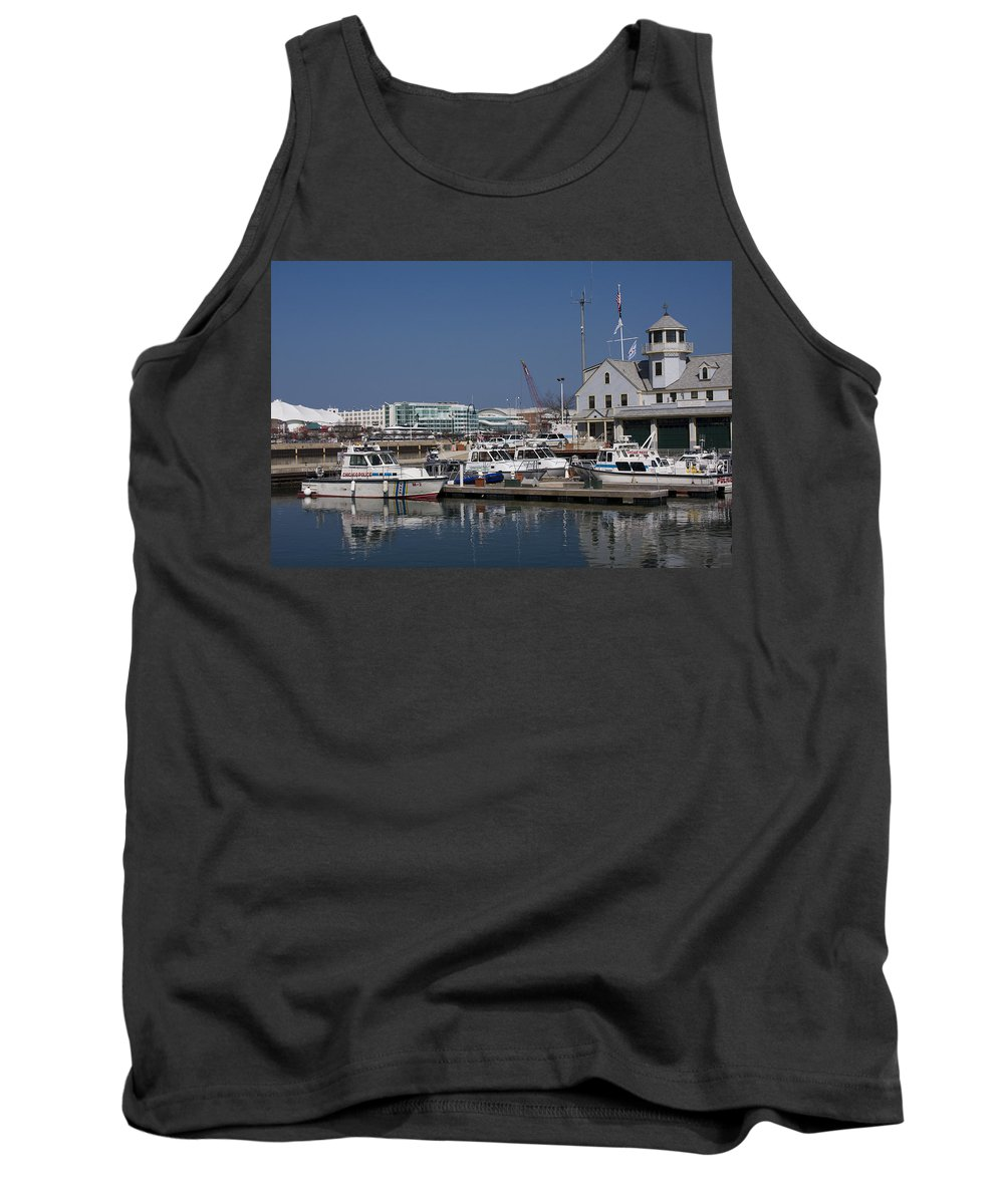 Chicago Windy City Police Station Lake Michigan Water Blue Sky Water Tank Top featuring the photograph Police Station by Andrei Shliakhau