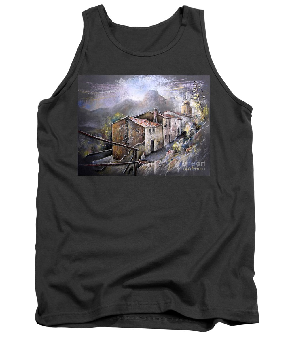 Pastel Painting Tank Top featuring the painting Polop De La Marina 03 by Miki De Goodaboom