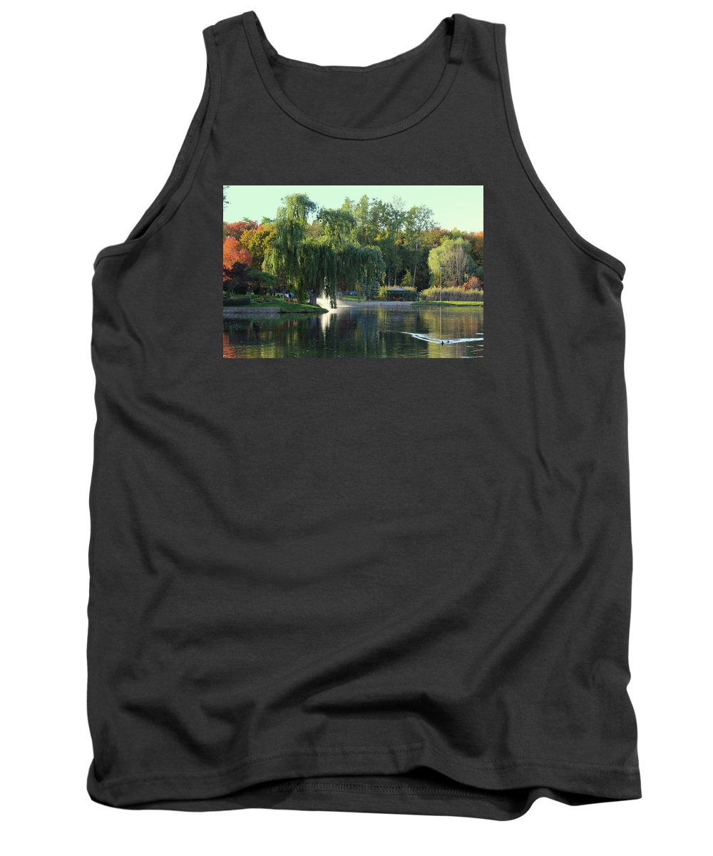 Fall Tank Top featuring the photograph Pond At Mae Stecker Park In Shelby Township Mi by Anita Hiltz
