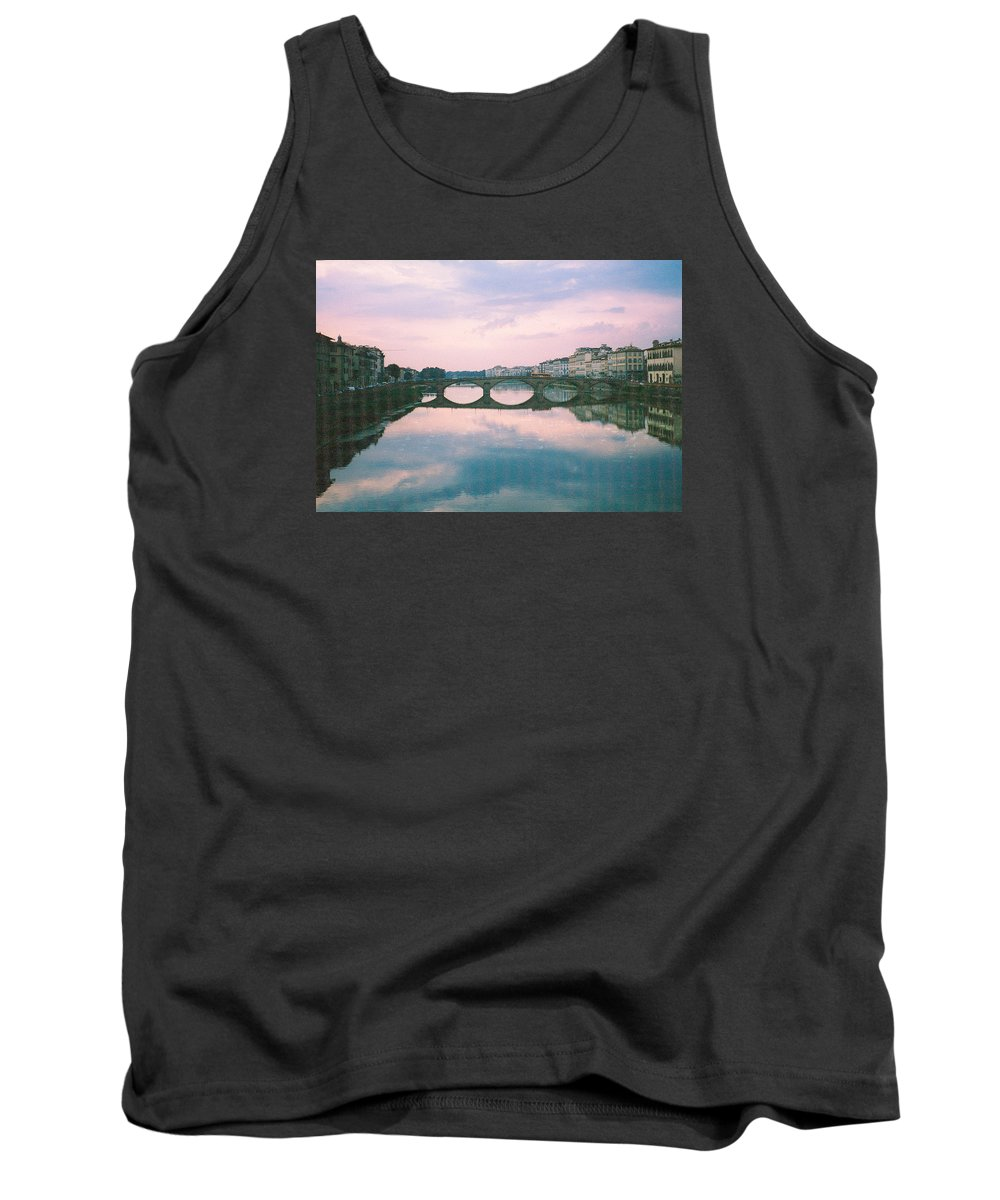 Italy Tank Top featuring the photograph Ponte Santa Trinita Sunset Photograph by Kimberly Walker
