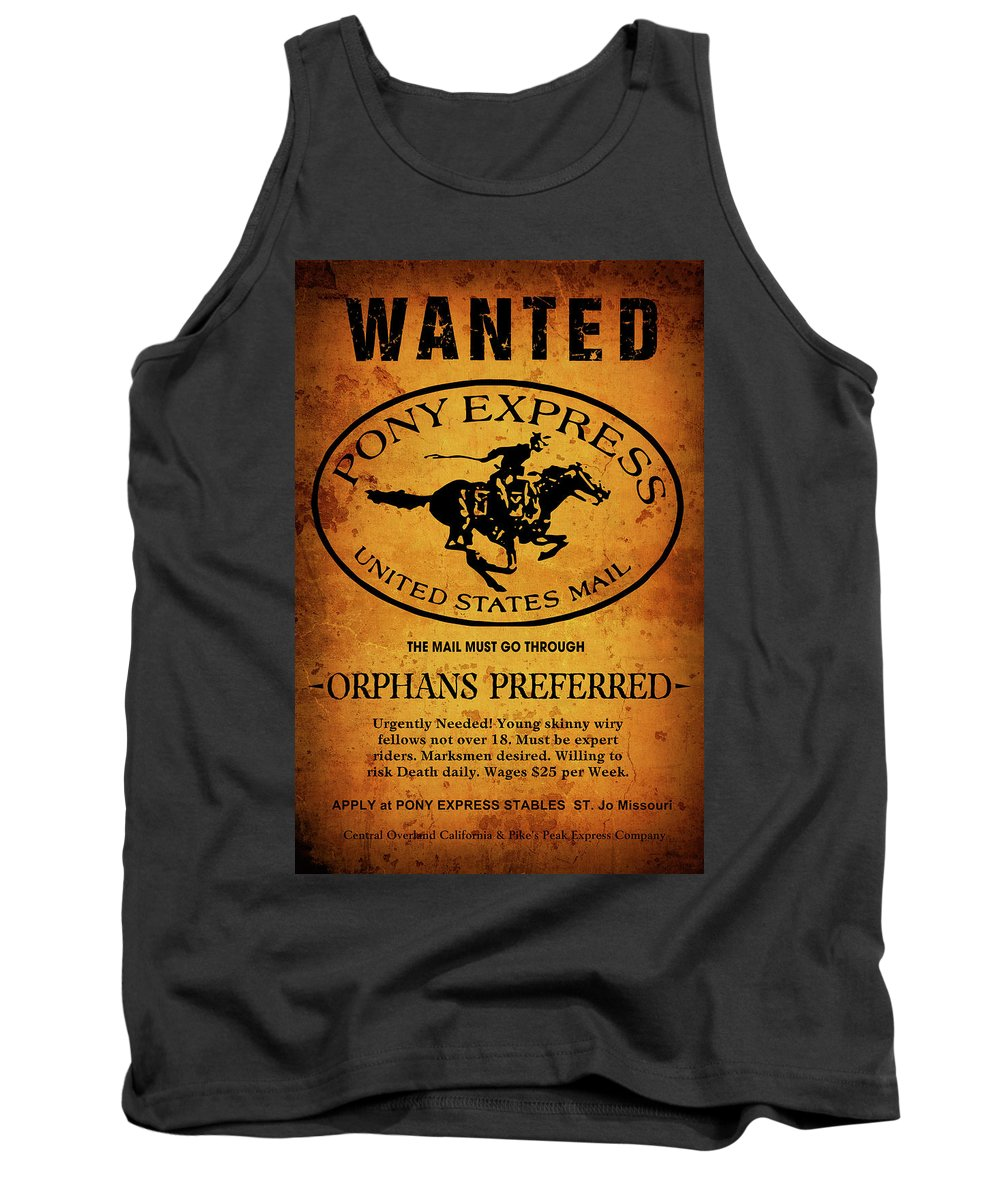 Pony Express Tank Top featuring the digital art Pony Express Wanted Poster by Daniel Hagerman