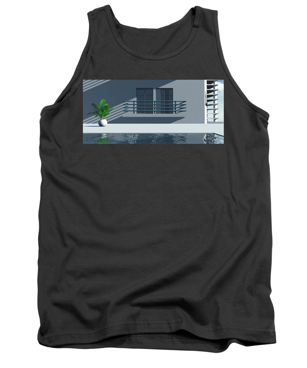 Abstract Tank Top featuring the digital art Pool Side by Richard Rizzo