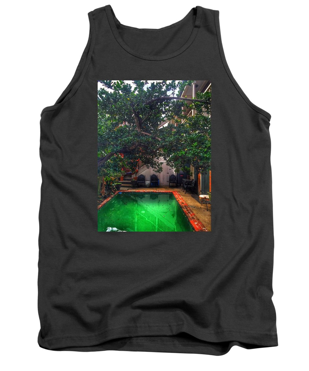 Tank Top featuring the photograph Pool With Tree by Mark Pritchard