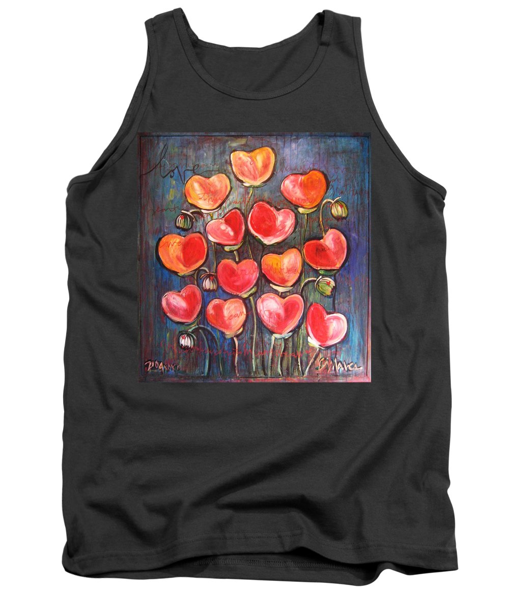 Poppies Tank Top featuring the painting Poppies Are Hearts Of Love We Can Give Away by Laurie Maves ART