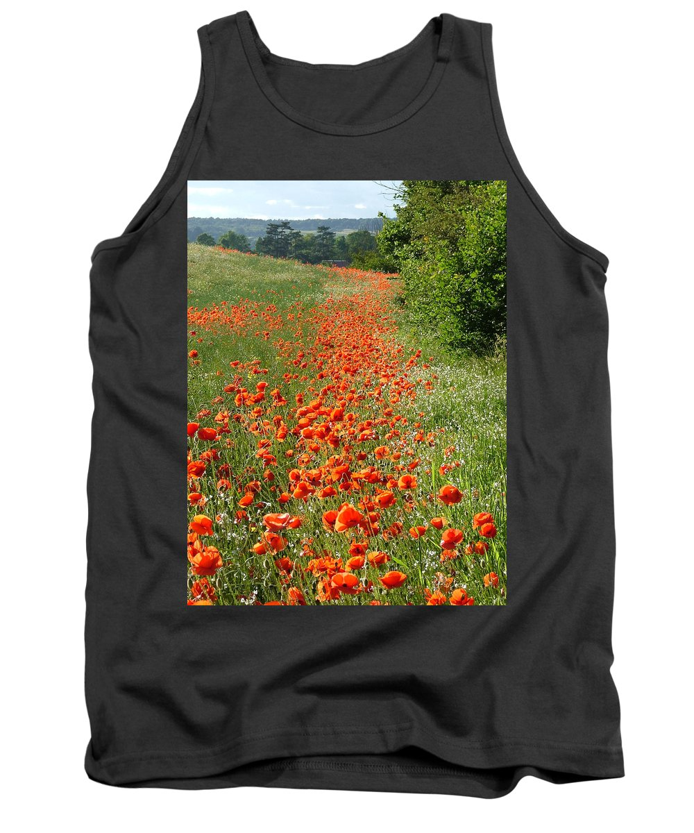 Poppies Tank Top featuring the photograph Poppies Awash by Bob Kemp