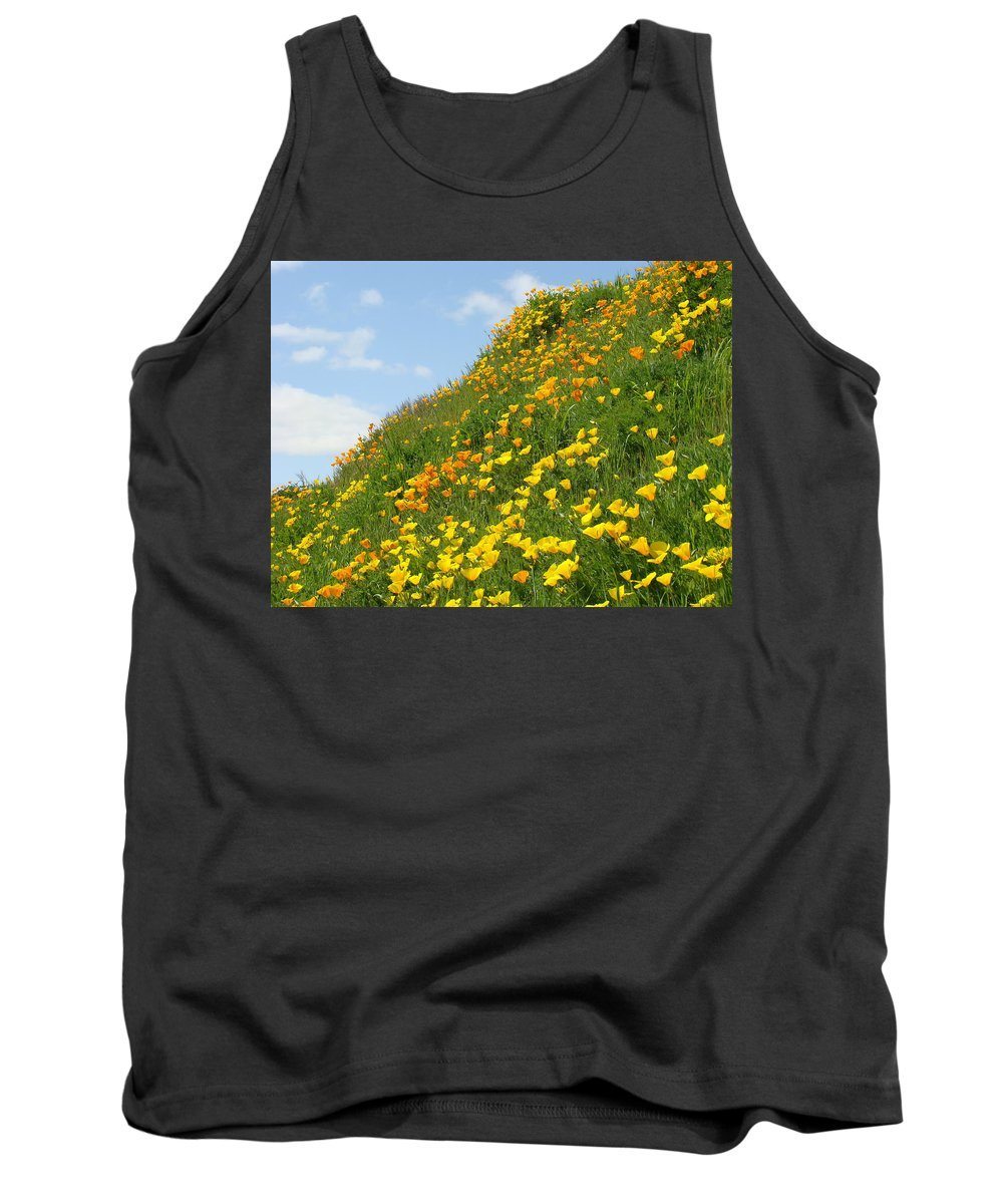 �poppies Artwork� Tank Top featuring the photograph Poppies Hillside Meadow 17 Blue Sky White Clouds Giclee Art Prints Baslee Troutman by Baslee Troutman