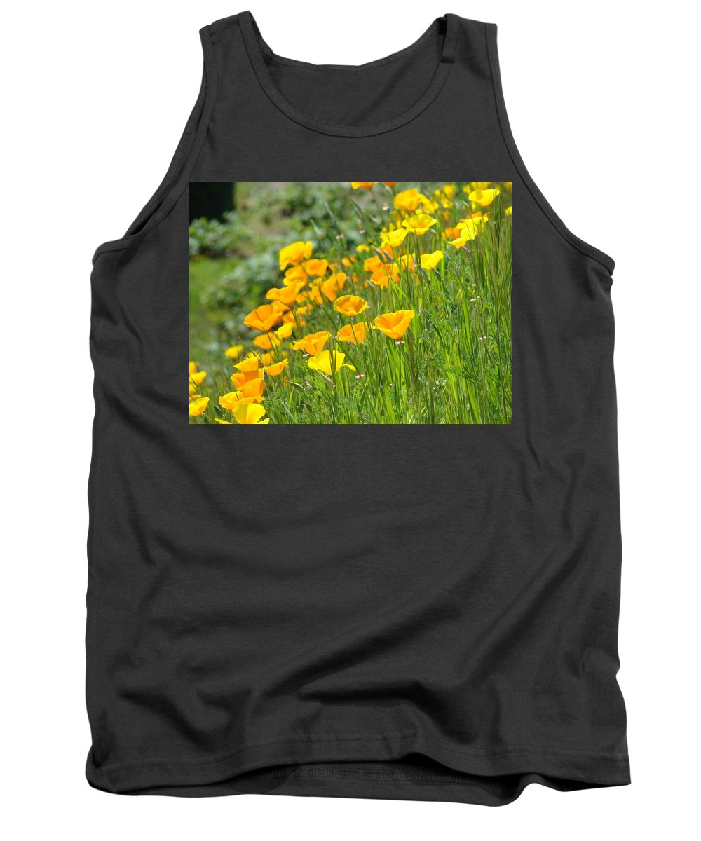 �poppies Artwork� Tank Top featuring the photograph Poppies Hillside Meadow Landscape 19 Poppy Flowers Art Prints Baslee Troutman by Baslee Troutman