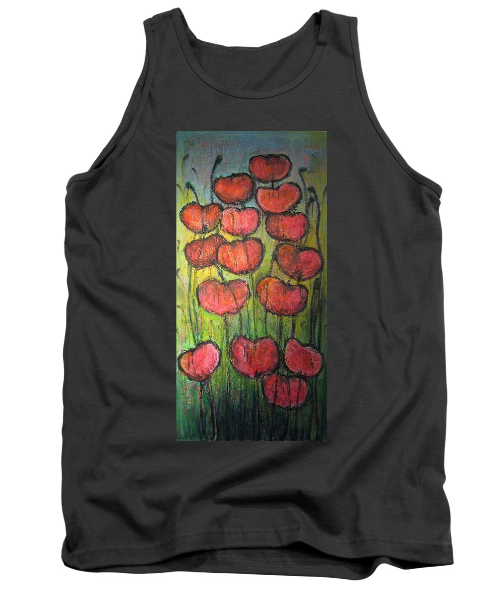 Poppies Tank Top featuring the painting Poppies In Oil by Laurie Maves ART